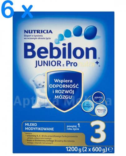 BEBILON 3 JUNIOR Z PRONUTRA+ Mleko modyfikowane w proszku - 6 x 1200 g + EMOLIUM DERMOCARE Krem ochronny na wiatr i mróz - 75 ml - Apteka internetowa Melissa