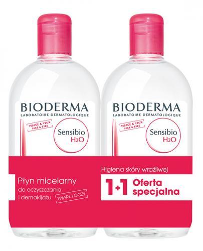 BIODERMA SENSIBIO H2O DUOPACK Płyn micelarny do oczyszczania twarzy i zmywania makijażu - 2 x 500 ml