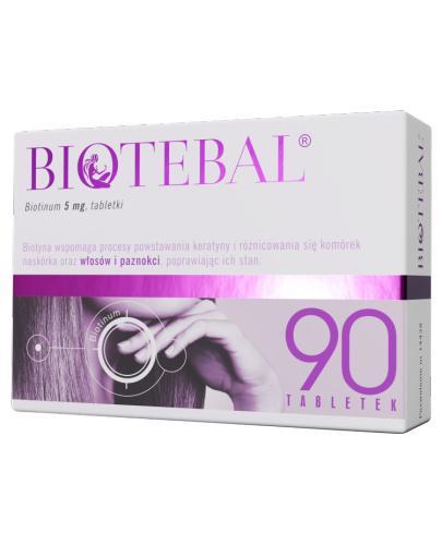 BIOTEBAL 5 mg - 90 tabl. Na zdrowe włosy i paznokcie - cena, opinie, wskazania