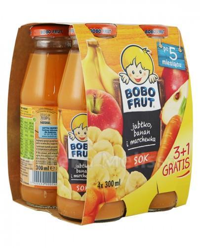 BOBO FRUT Sok jabłko, banan i marchewka po 5 m-cu - 4 x 300 ml PROMOCJA 4 w cenie 3 - Apteka internetowa Melissa