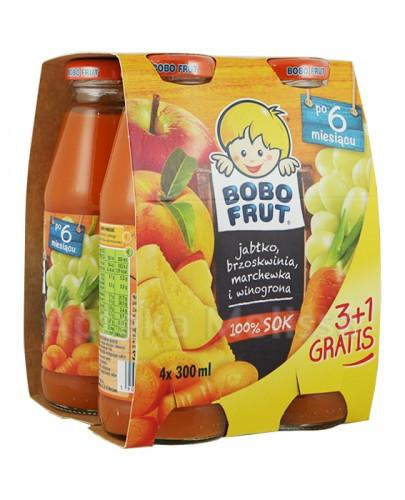 BOBO FRUT Sok jabłko, brzoskwinia, marchewka i winogrona po 6 miesiącu - 4 x 300 ml PROMOCJA 4 w cenie 3