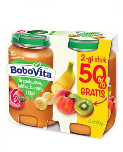 BOBOVITA Brzoskwinie, jabłka, banany i kiwi po 6 m-cu - 2 x 190 g