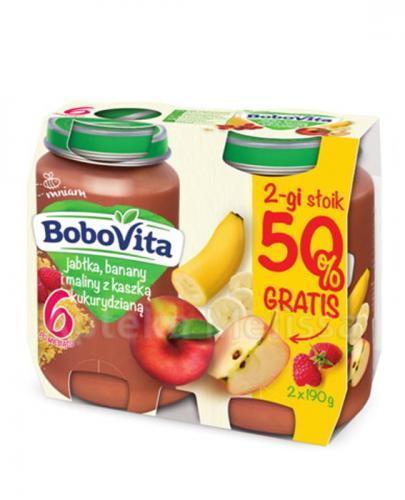 BOBOVITA Jabłka, banany i maliny z kaszką kukurydzianą - 2 x 190 g