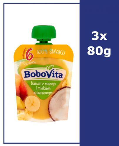 BOBOVITA MUS Banan z mango i mlekiem kokosowym po 6 m-cu - 3 x 80 g