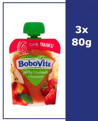 BOBOVITA MUS Jabłka i truskawki z bananem po 6 m-cu - 3 x 80 g