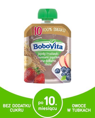 BOBOVITA  MUS Jagody i truskawki z owocami i jogurtem oraz delikatne zboża, po 10 miesiącu - 80 g