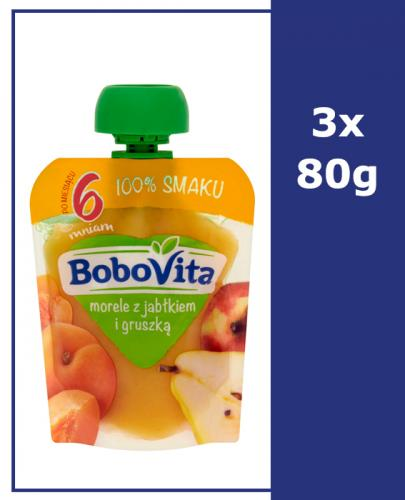 BOBOVITA MUS Morele z jabłkiem i gruszką po 6 m-cu - 3 x 80 g