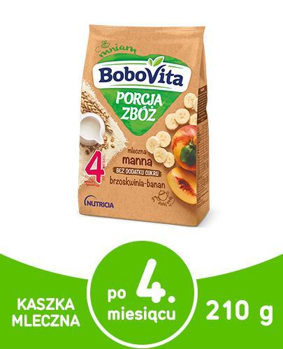 BOBOVITA PORCJA ZBÓŻ Manna kaszka mleczna bananowo-brzoskwiniowa po 6 m-cu - 210 g - Apteka internetowa Melissa
