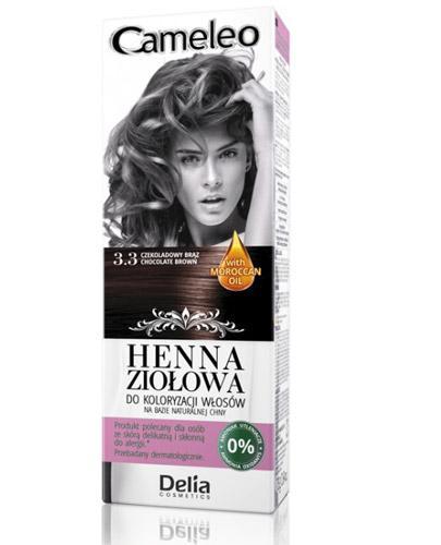 Cameleo Henna ziołowa do koloryzacji włosów Czekoladowy brąz 3.3 - 75 g - cena, opinie, stosowanie  - Apteka internetowa Melissa