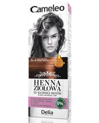 Cameleo Henna ziołowa do koloryzacji włosów Złoty kasztan 6.3 - 75 g Farba bez amoniaku - cena, opinie, stosowanie