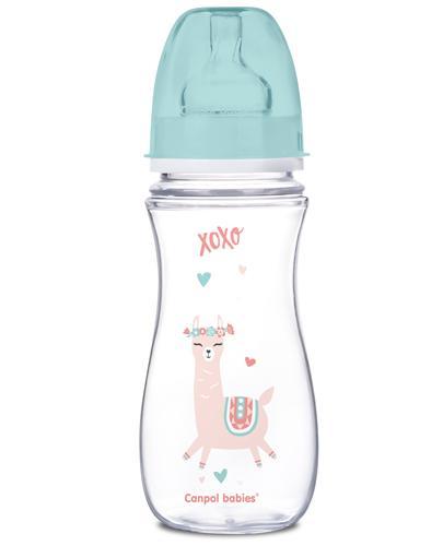 CANPOL BABIES Butelka szerokootworowa antykolkowa EasyStart 35/222, zielona - 300 ml