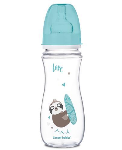 CANPOL BABIES Butelka szerokootworowa antykolkowa EasyStart 35/222, niebieska - 300 ml