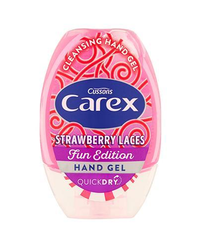 Carex Strawberry Laces Fun Edition Oczyszczający żel do rąk - 50 ml Żel do dezynfekcji dłoni dla dzieci - cena, opinie, właściwości