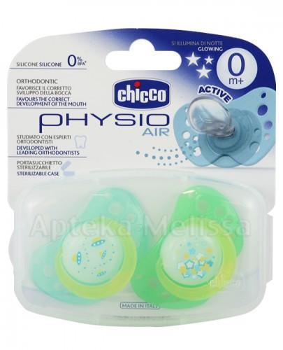 CHICCO PHYSIO AIR Smoczek silikonowy świecący w nocy zielony 0m+ - 2 szt.