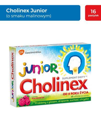 CHOLINEX JUNIOR Raspberry - 8 past. do ssania na ból gardła - Drogeria Melissa