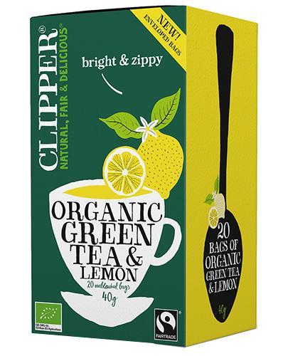 Clipper Teas Herbata zielona z cytryną Fair Trade Bio - 20 sasz. - cena, wskazania, stosowanie