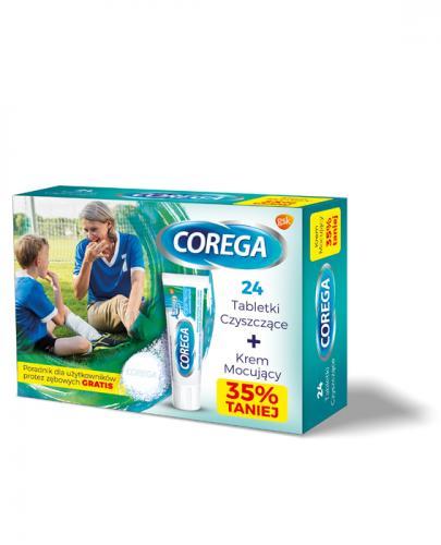 COREGA SUPER MOCNY Krem mocujący do protez + Tabletki czyszczące + Poradnik GRATIS! - 40 g + 24 szt.