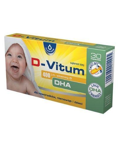 D-VITUM Witamina D DHA 400 j.m. - rozwój wzroku i układu kostnego - 30 kaps. twist-off - cena, opinie, dawkowanie - Apteka internetowa Melissa