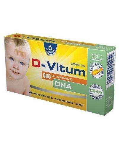 D-VITUM Witamina D DHA 600 j.m. - rozwój wzroku i układu kostnego od 6. mies. życia - 30 kaps. twist-off - cena, opinie, dawkowanie - Apteka internetowa Melissa
