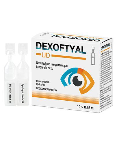 DEXOFTYAL UD Nawilżające i regenerujące krople do oczu, minimsy - 10 x 0,35 ml