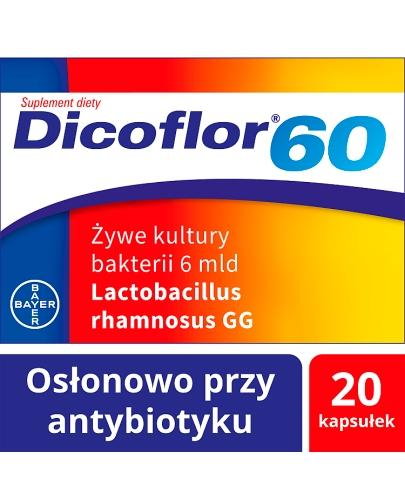 DICOFLOR 60 - 20 kaps. W antybiotykoterapii u dzieci >3 r.ż. i dorosłych. - ważny do 2021-10-31