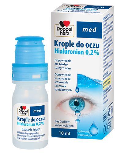 DOPPELHERZ MED Krople do oczu Hialuronian 0,2% - 10 ml - przy noszeniu soczewek - cena, opis, wskazania - Drogeria Melissa