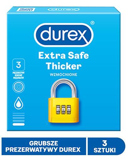 DUREX EXTRA SAFE Prezerwatywy grubsze z dodatkową ilością środka nawilżającego - 3 szt.