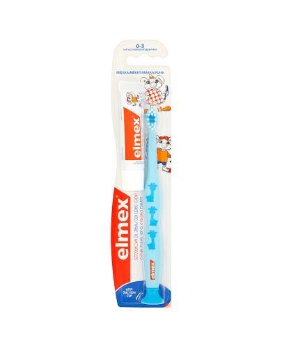 ELMEX Szczoteczka do zębów od 0 do 3 lat miękka - 1 szt. + ELMEX Pasta do zębów dla dzieci 0-6 lat - 12 ml - Drogeria Melissa