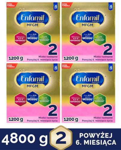 ENFAMIL 2 PREMIUM MFGM 6-12 mcy Mleko modyfikowane w proszku - 4 x 1200 g