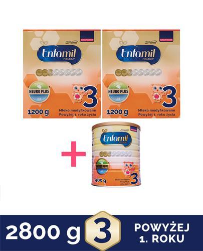 ENFAMIL 3 PREMIUM powyżej 1 roku Mleko modyfikowane - 2 x 1200g + ENFAMIL 3 PREMIUM powyżej 1 roku Mleko modyfikowane - 400 g - Apteka internetowa Melissa