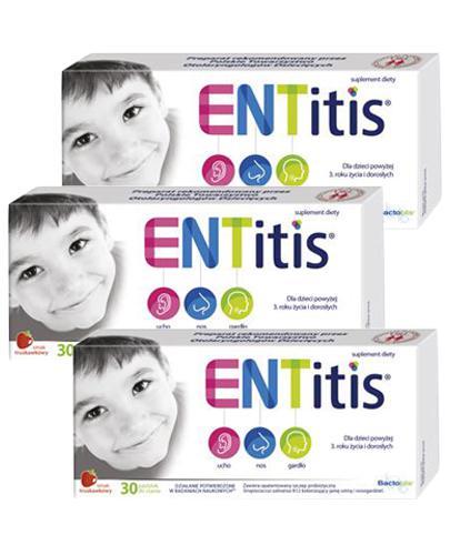 ENTitis Smak truskawkowy - 3 x 30 pastylek. Na infekcje ucha, nosa i gardła - cena, opinie, właściwości - Apteka internetowa Melissa