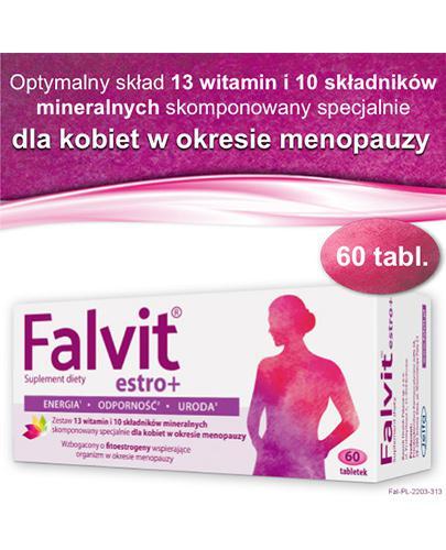 FALVIT Estro+ - 60 tabl. - uspakaja i łagodzi objawy menopauzy - cena, opinie, dawkowanie - Drogeria Melissa