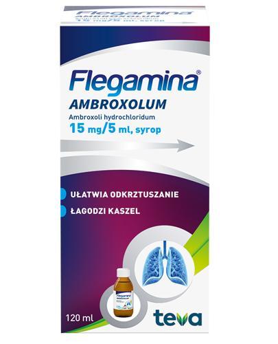 FLEGAMINA AMBROXOLUM Syrop 15 mg/5 ml - 120 ml - ułatwia odkrztuszanie, łagodzi kaszel - dawkowanie, cena, opinie