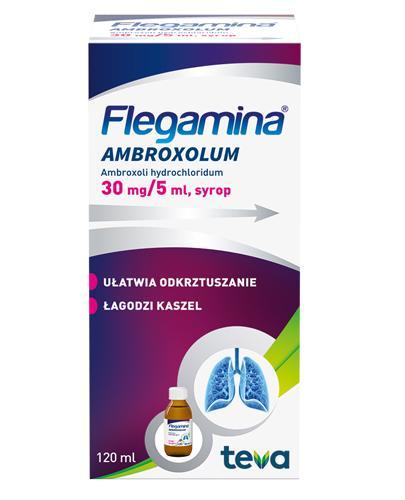 FLEGAMINA AMBROXOLUM Syrop 30 mg/5 ml - 120 ml - ułłatwia odkrztuszanie, łagodzi kaszel - cena, dawkowanie, opinie