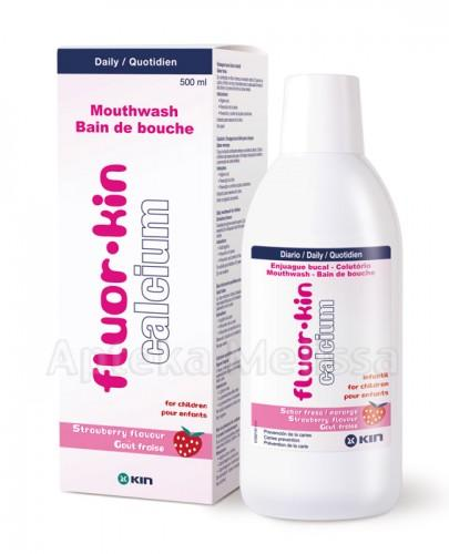 FLUOR-KIN CALCIUM Płukanka dla dzieci o smaku truskawkowym - 500 ml - Apteka internetowa Melissa