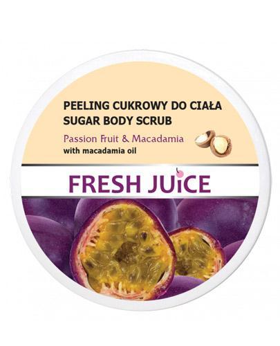 FRESH JUICE Peeling cukrowy do ciała marakuja z olejem makadamia - 225 ml - cena, opinie, stosowanie - Drogeria Melissa