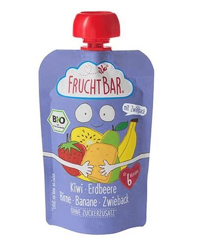 Fruchtbar Ekologiczny mus owocowy z sucharkami - kiwi, truskawka, gruszka, banan, sucharki pszenne - 100 g - Apteka internetowa Melissa