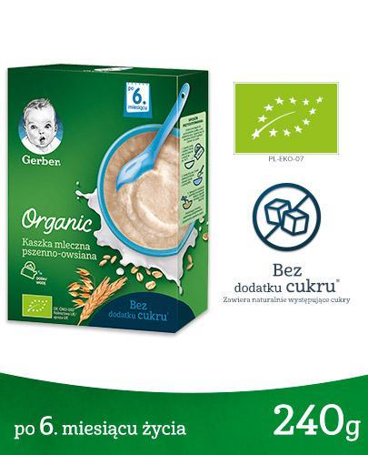 GERBER ORGANIC Kaszka mleczna pszenno-owsiana, po 6. miesiącu - 240 g