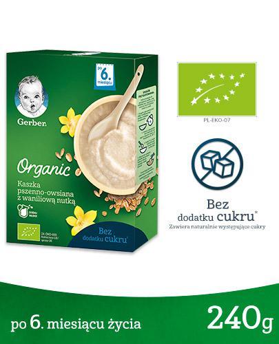GERBER ORGANIC Kaszka pszenno-owsiana z waniliową nutką, po 6. miesiącu - 240 g