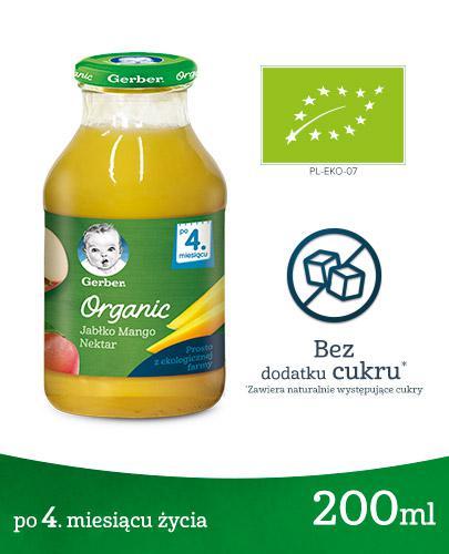 GERBER ORGANIC Nektar jabłko, mango po 4. miesiącu - 200 ml - cena, opinie, właściwości - Apteka internetowa Melissa