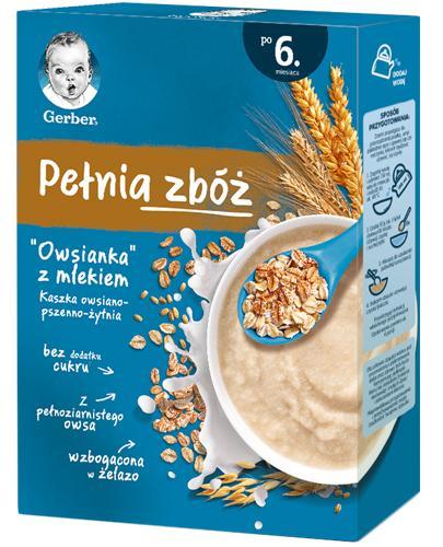 Gerber Pełnia Zbóż Owsianka z mlekiem Kaszka owsiano-pszenno-żytnia po 6 miesiącu - 200 g - cena, opinie, wskazania - Drogeria Melissa