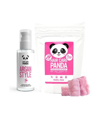 HAIR CARE PANDA ARGAN STYLE Serum regeneracyjne do włosów - 50 ml + HAIR CARE PANDA TRAVEL PACK Żelki - 70 g - KURACJA 7 dni