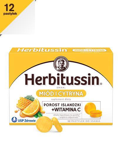 HERBITUSSIN POROST ISLANDZKI + Wit. C smak miód i cytryna - 12 past. do ssania - Apteka internetowa Melissa
