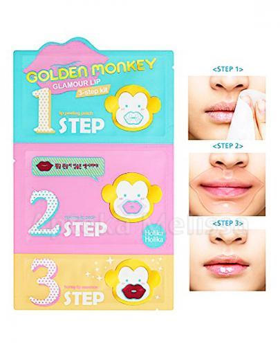 HOLIKA HOLIKA Golden Monkey Glamour Lip Kit Maseczka na usta w 3 krokach - 1 szt.