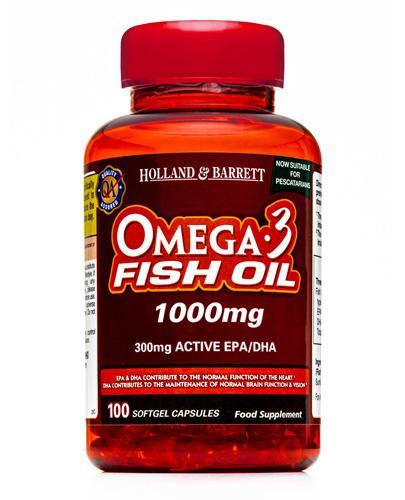 HOLLAND&BARRETT Olej rybi Omega-3 1000 mg - 100 kaps. - Apteka internetowa Melissa