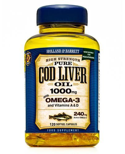 HOLLAND&BARRETT Olej z wątroby dorsza 1000 mg - 120 kaps. Kwasy Omega-3 i witaminy A i D. Data ważności 2021.07.31 - Apteka internetowa Melissa