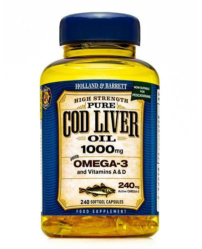 HOLLAND&BARRETT Olej z wątroby dorsza 1000 mg - 240 kaps. Kwasy Omega-3 i witaminy A i D.