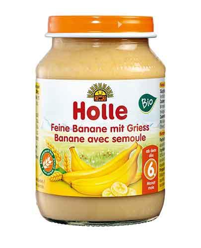 HOLLE Deserek Delikatny banan z grysikiem - 190 g