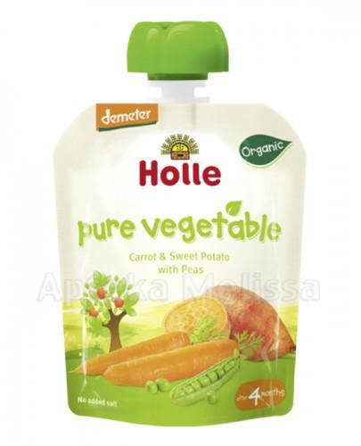 HOLLE Mus z marchewki i słodkich ziemniaków z zielonym groszkiem - 90 g - Apteka internetowa Melissa