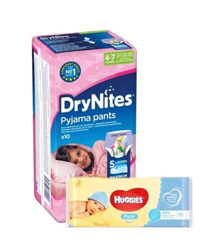 HUGGIES DRYNITES Pieluchomajtki dla dziewczynki 4-7 lat 17-30 kg - 10 szt. + HUGGIES PURE Chusteczki nawilżane - 56 szt. - Apteka internetowa Melissa